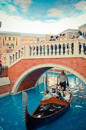 sailling: Travelling in the venatian Macau by sailling a gondola boat Editorial