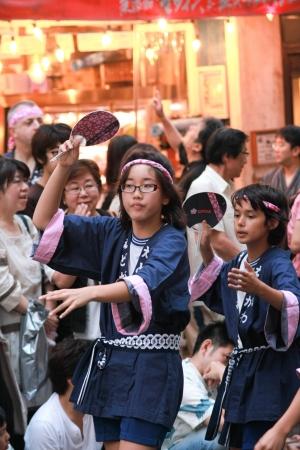 Japanese kids dancing in Kagurasaka festival 23July Tokyo Editöryel
