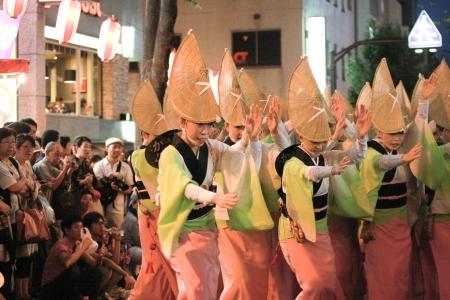 Japanese woman dancing in Kagurasaka festival 23July Tokyo