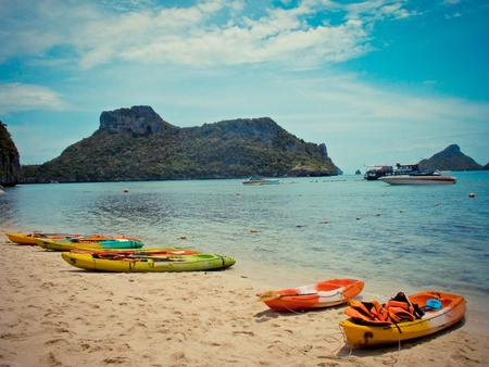 Kayak on the beach at Samui island Thailand photo