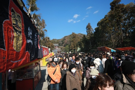 goodness: KAMAKURA, JAPAN - JANUARY 02: Japanese people go to the shrine for blessing for the goodness in the coming new year on January 02,2012, Kamakura Japan Editorial