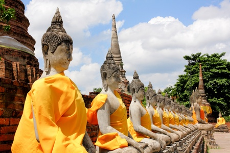 venerate: Old buddha statue in ayutthaya temple , Thailand