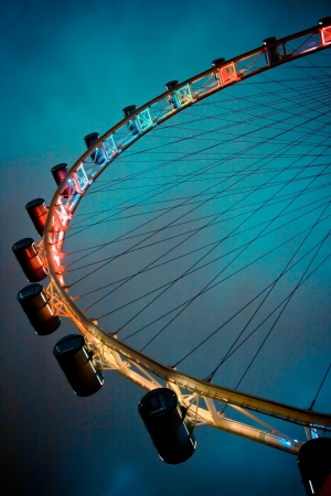 wheel: The Singapore Flyer in the evening