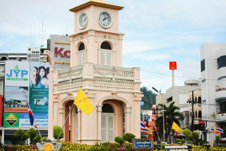 PHUKET, THAILAND - November 30: The old clock tower landmark of the phuket city  the  on November 30, 2010 in Phuket, Thailand