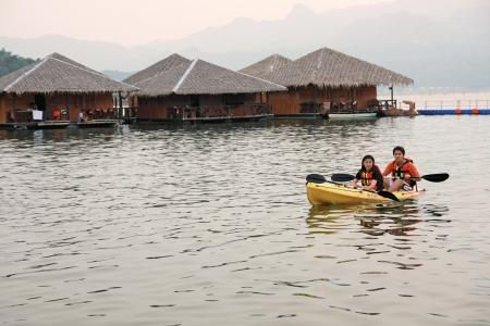 KANCHANABURI, THAILAND - October 4: water activity at the floating house residence   in Kanchanaburi, Thailand, on October 4, 2011