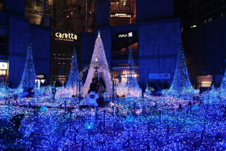 TOKYO, JAPAN - DEC 19: Illumination of the Christmas light at Shiodome  on Dec 19, 2011, Tokyo Japan Editorial