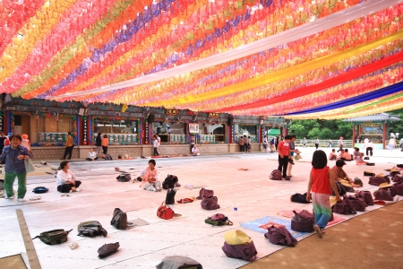 SEOUL, SOUTH KOREA - JUNE 27: Korean people coming to the temple for the celebration of buddha birthday, on June 27, 2009 in Seoul, Korea