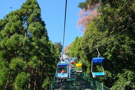2011 年 11 月 23 日に東京都の近くに場所や高尾山の頂上に外接する東京, 日本 - 11 月 23 日: ケーブル 報道画像