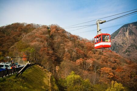 NIKKO, JAPAN - NOVEMBER 5 Nikko cable car taking to the top of mountian to view the waterfall on November , 2011 in Nikko, JAPAN