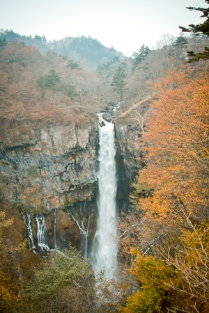 Kegon Falls in autumn at NIkko, Japan photo