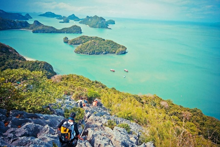 calcite: Travelers are hiking to the Calcite mountian at Angthong island marine national park in Suratani, Thailand on May 7, 2011