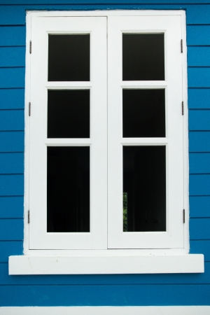 White window on blue background photo