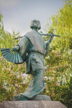 Japanese traditional samurai statue in Kyoto