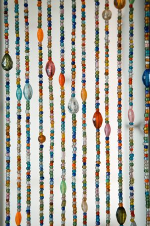 tallboy: Colorful of crystal curtain on the door