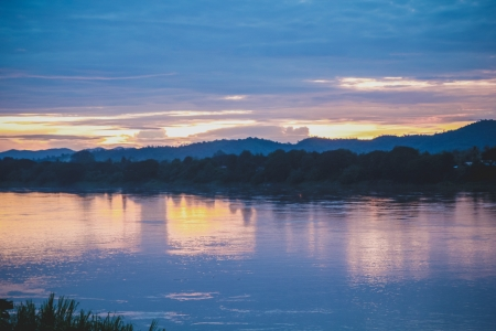 loei: Twilight scene of sun set at Khong river in Thailand