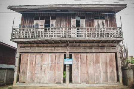 Wooden house in the countryside in North Eastern Thailand