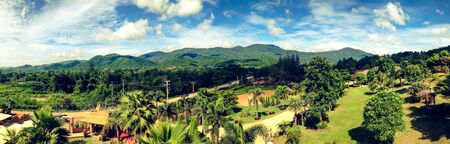 saun: Panorama natural view of mountain and greenery forest in Saun Phung  Ratchaburi province Thailand