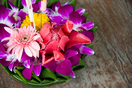 Krathong were made with banana leaves for Loykrathong festival in Thailand Stock Photo