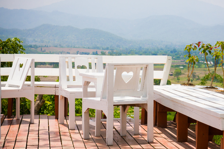 European style white terrace among the mountain in Pai Maehongson ,Thailand photo