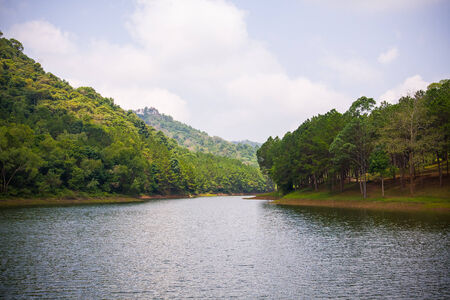 Beautiful natural scene of greenery forest and lake in Mae Hong Son province, Thailand  Pang Ung  photo