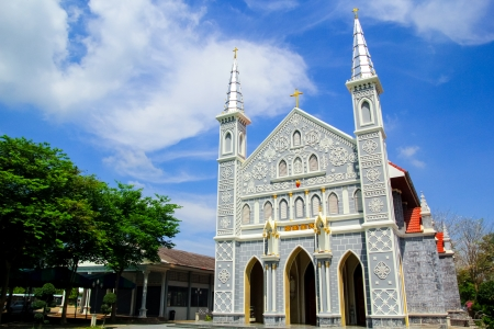 View of the ancient 100 years Church  in Ratchaburi province,Thailand