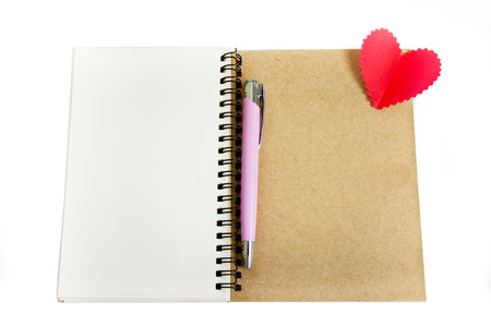 Notebook and pen, writing for your lover on white background photo