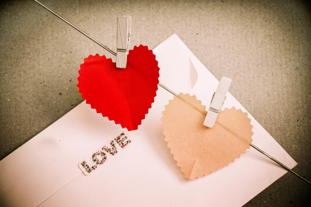 Heart paper with clothespin for Valentine photo
