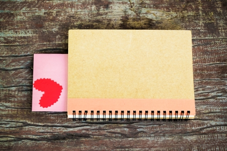 Notebook with heart  Send message to your lover in Valentine Stock Photo - 25288205
