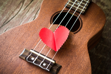 acoustic ukulele: Guitar lover  Valentine Stock Photo
