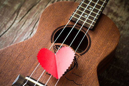 The retro guitar for the lover in Valentine Stock Photo