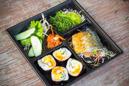 Bento lunchbox Japanese style quick meal that plenty of good nutrition photo