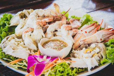 Steamed Crab in dish photo