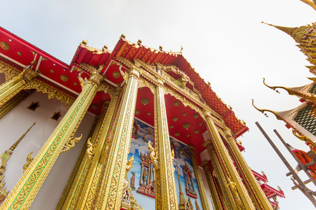 low relief: The pediment of the temple, Thailand, This is a Buddhist temple