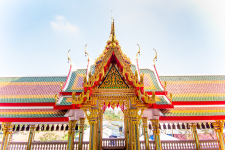 pediment: The pediment of the temple, Thailand, This is a Buddhist temple
