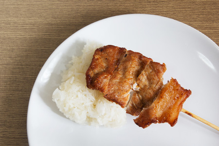 Grilled pork barbecue with sticky rice in a white dish photo