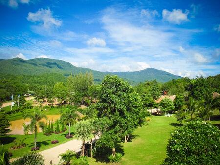 ラチャブリ県、タイの村の緑自然のビュー 写真素材