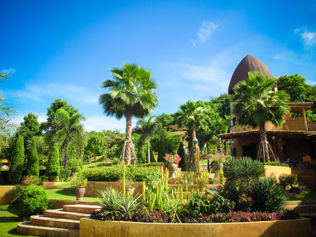 ratchaburi: Greenery natural view of village in Ratchaburi province,Thailand Stock Photo