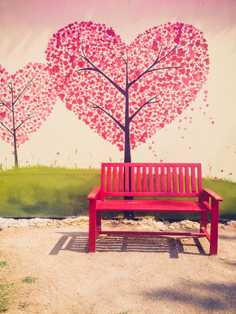 Red chair in vintage style photo