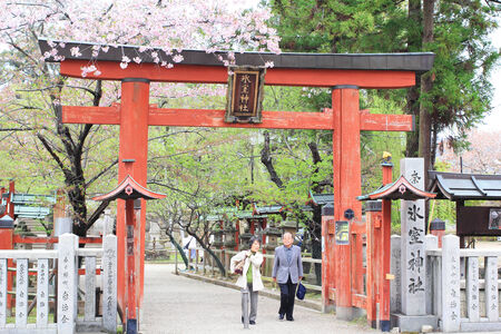 NARA, JAPAN - April 13  Japanese old people are visiting to Hasedera temple in spring, the famous temple in Nara, Japan on April 13, 2014