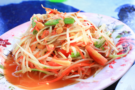 Thai papaya salad traditional Thai food photo
