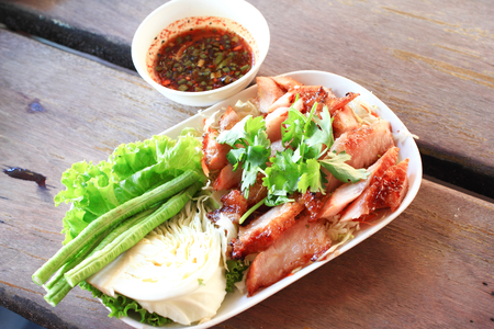 Grilled pork Steak with Spicy Sauce, Thai food photo