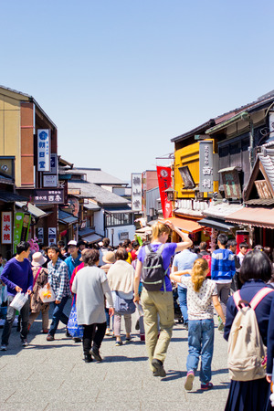 KYOTO, JAPAN - April 15  A lot of people ar walking at the traditional shopping street, Sannen-Zaka, in fron of Kiyomizu temple on April 15, 2014 in Kyoto, JAPAN