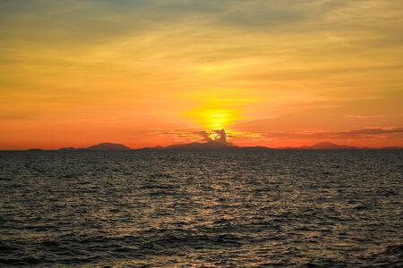 Sunset at the sea of Chantaburi, Thailand  photo