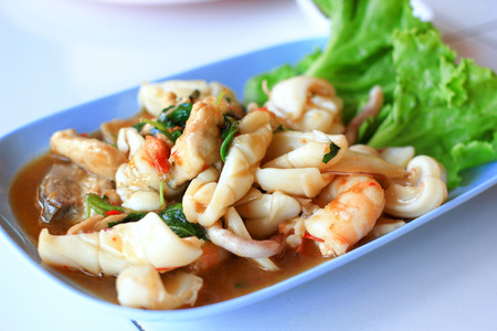 Mixed seafood spicy and sour salad   Thai food  photo