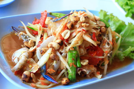 Thai papaya salad traditional Thai food photo