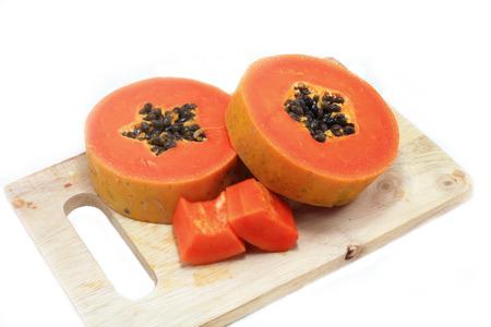 Sweet papaya close up isolated photo