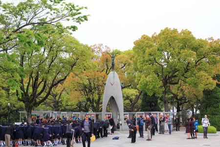 HIROSHIMA, JAPAN - April 16: Japanese students are visiting at Sadako statue in Hiroshima Peace Park on April 16, 2014 in Hiroshima, Japan.