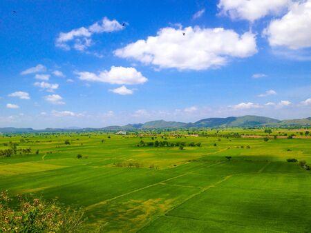 paisaje natural: Paisaje natural del campo de arroz en Kanchanaburi, Tailandia