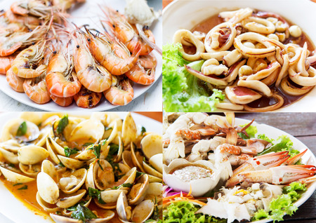 Collage of Thai seafood photo