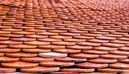 Thai temple roof tile pattern photo